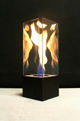 Fire in glass swirl vortex effect portable burn indoors