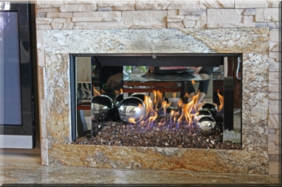 Palm Desert Fireplace with Sterling Silver Panels